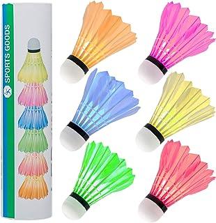 SF SONFAN LED Badminton Shuttlecocks Lighting Birdies - 6 Pack Colorful Goose Feather Glow Birdies Lighting, Shuttle-Cocks Badminton Balls for Indoor & Outdoor Sports Activities