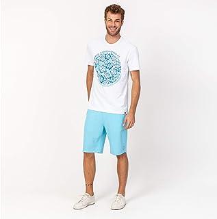 Camisa T-shirt Casual Branca Flores Azul