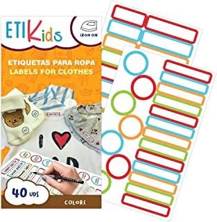 ETIKIDS 40 Etiquetas para ropa personalizables para la guardería y colegio. (Color)