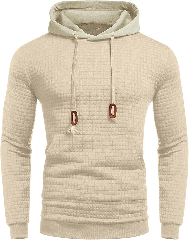 Hoodies for Men Men's Fashion Hoodies Sweatshirts Autumn Slim Casual Plaid Hooded Long Sleeve Sweatshirts Top Cool Blouse