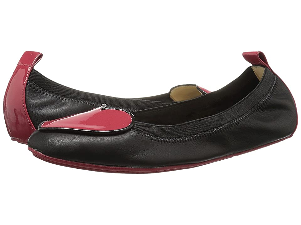 Yosi Samra Kids Suri Alsina/Soft Patent Leather Ballet Flat (Toddler/Little Kid/Big Kid) (Black/Garnet Red) Girls Shoes