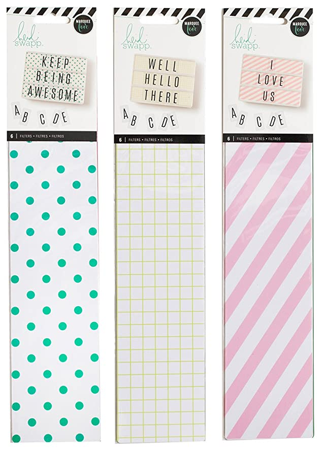 Heidi Swapp - Lightbox Backgrounds Set - Stripes, Dots & Grids - 3 Item Set - 18 Background Inserts