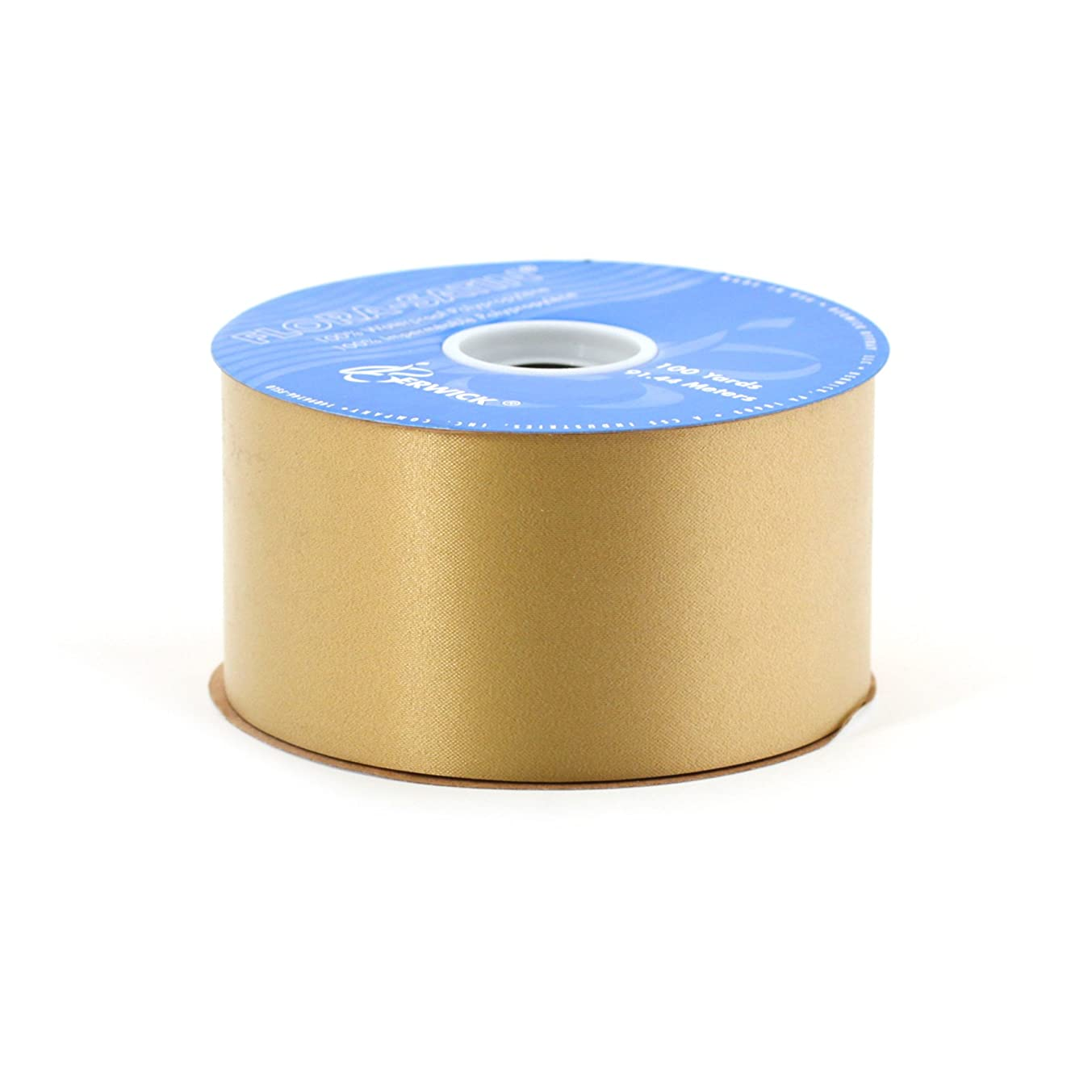 Berwick FL40A59 2-3/4-Inch Wide by 100-Yard Spool Flora Satin Craft Ribbon, Holiday Gold
