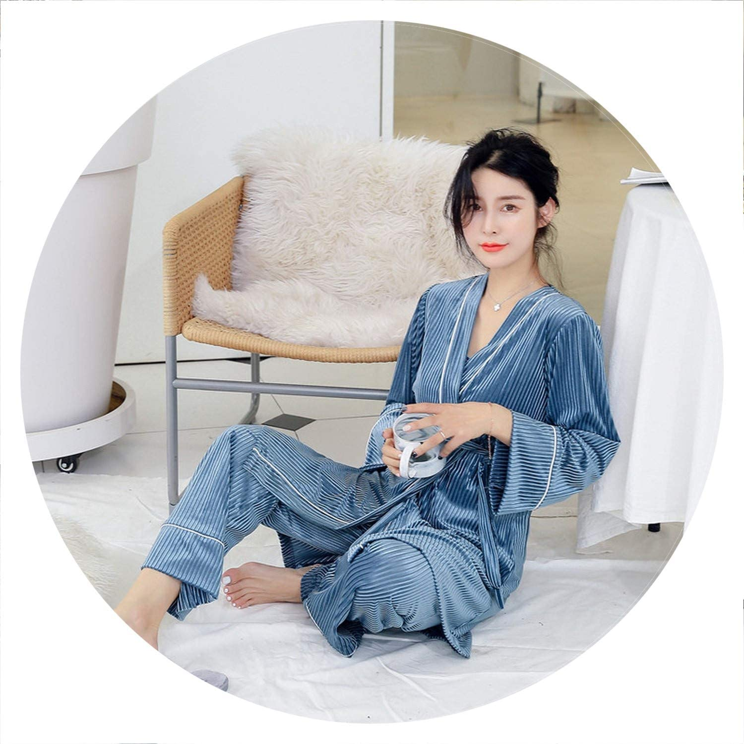 100Expectations 3 Pieces Warm Winter Pajamas Sets Women Robe Sleepwear Long Sleeve Nightwear Pant Suit