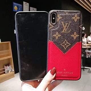 Phone Case for iPhone 7 Plus 8 Plus, Classic Monogram Vintage Style Elegant Luxury Fashion Designer with Card Holder Slot Case Cover Phone Case for iPhone 7 Plus 8 Plus- Red