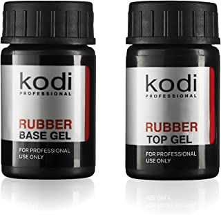 Professional Rubber Top & Base Gel Set By Kodi   14ml 0.49 oz   Soak Off, Polish Fingernails Coat Kit   For Long Lasting Nails Layer   Easy To Use, Non-Toxic & Scentless   Cure Under LED Or UV Lamp