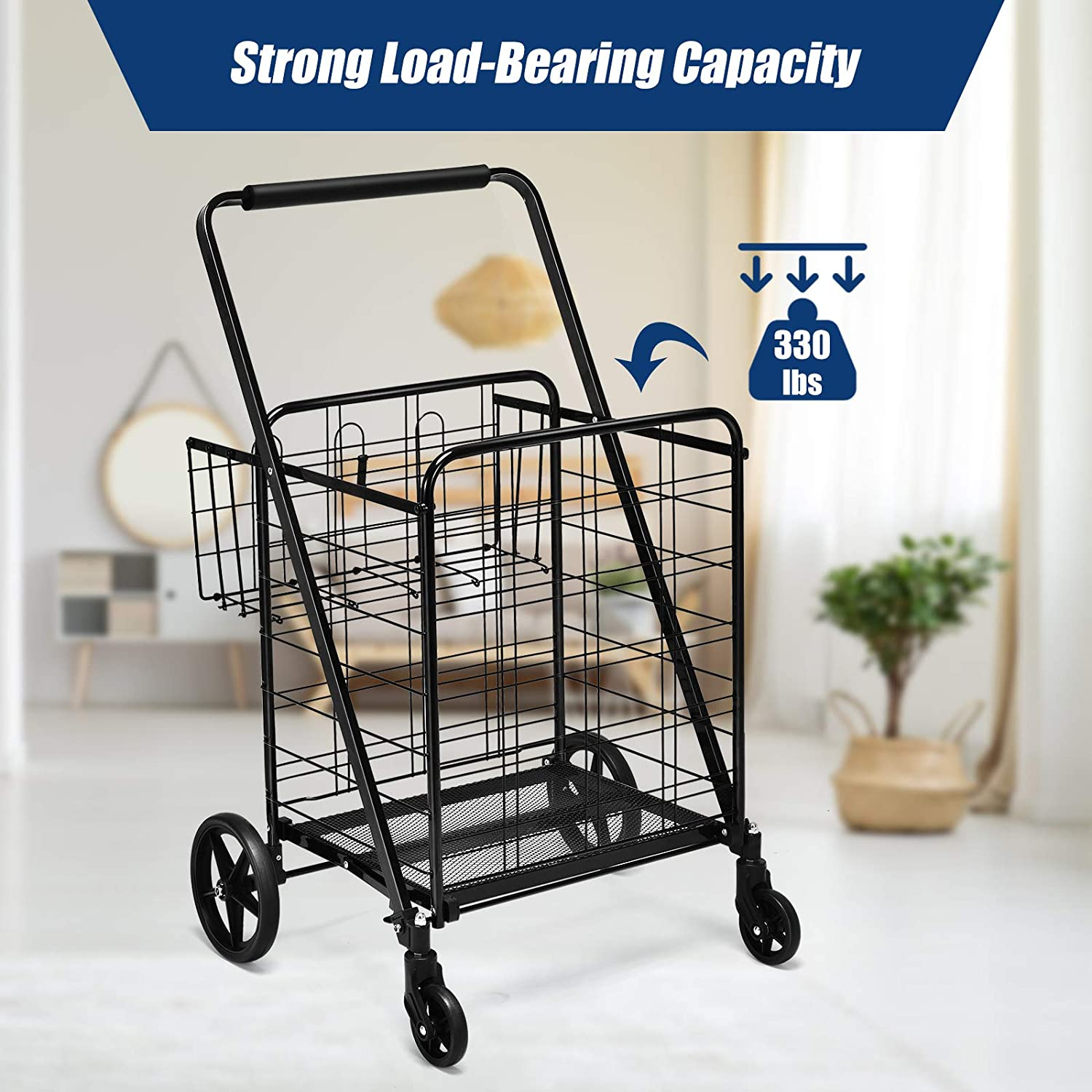 Jumbo Double Basket Utility Grocery Cart 330lbs Capacity with 360/° Rolling Swivel Wheels,Portable Heavy Duty Cart for Laundry Shopping Grocery Silver Goplus Folding Shopping Cart