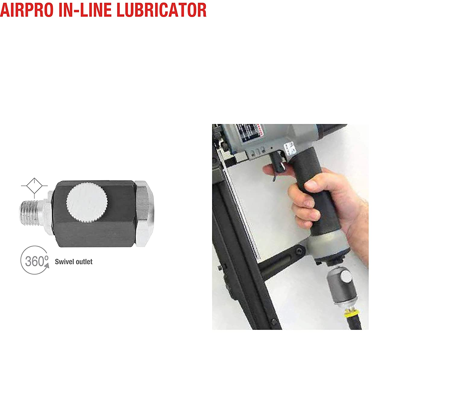 Model 62.117 TOPRING AIRPRO Professional Inline Oiler for Pneumatic Air Tools with Swivel Outlet