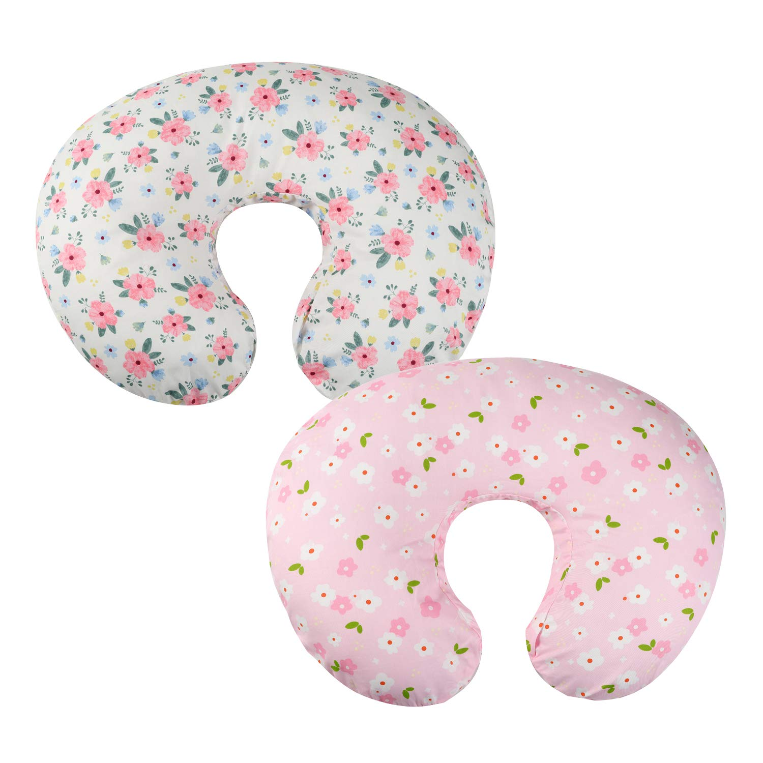 Onacosht Pink Floral Cotton Nursing Pillow Cover for Baby Girls, 2 Pack, Ultra Soft Snug Fits on Infant Breastfeeding Support Pillow