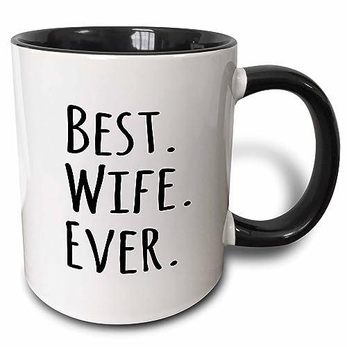 3dRose Best Wife Ever Mug, 11 oz, Black