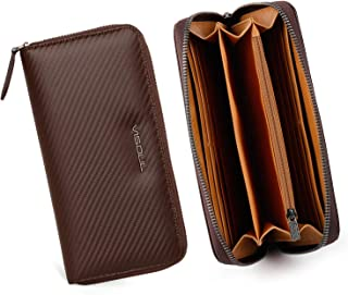 Mens Wallet Long Genuine Leather Zip Wallet Large Capacity with Coin Pocket