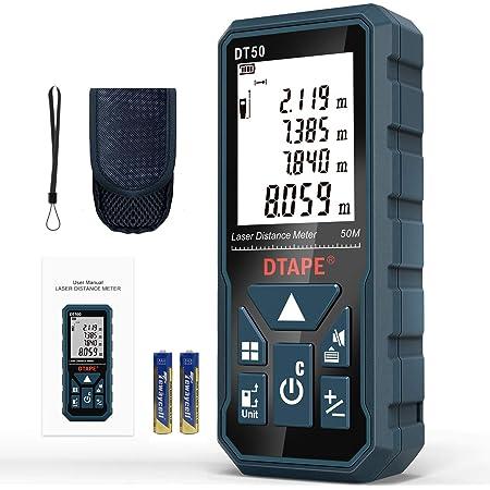 Télémètre Laser Numérique,DTAPE DT50 50m Mètre laser numérique,Mesure du théorème de longueur/Zone/Volume/Théorème de Pythagore avec Rétroéclairage LCD, IP54