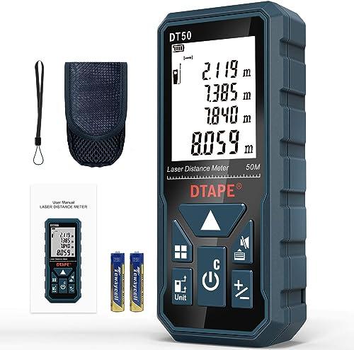 Medidor Láser, DTAPE DT50 Medidor de Distancia Láser 50M / 165 pies, Medidor de Presión Portátil Herramienta de Medic...