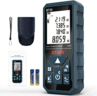Télémètre Laser Numérique,DTAPE DT50 50m Mètre laser numérique,Mesure du théorème de longueur/Zone/Volume/Théorème de Pyth...