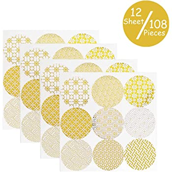 20 Sheets Decorative Gold Circle Envelope Seals Stickers/Gift Boxes Stickers Label Stickers