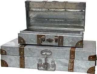 Stonebriar Galvanized Suitcase Set, Silver