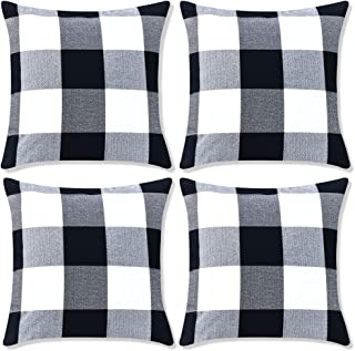 Decorbay Pack of 4 Farmhouse Decor Pillow Covers 18×18 Black and White Buffalo..
