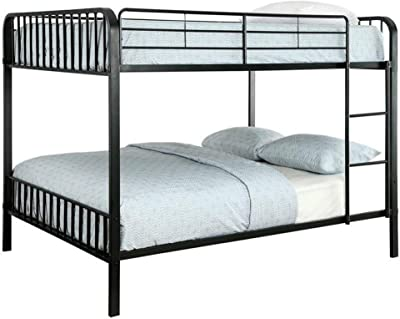 Benjara Slatted Design Metal Full Over Full Bunk Bed with Attached Ladder, Black