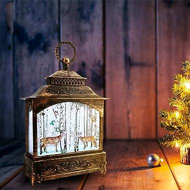 NUOBESTY Christmas Snow Globe Lantern Decorative Lighted Lantern Elk Pattern Table Night Light Christmas Tree Hanging Decorat