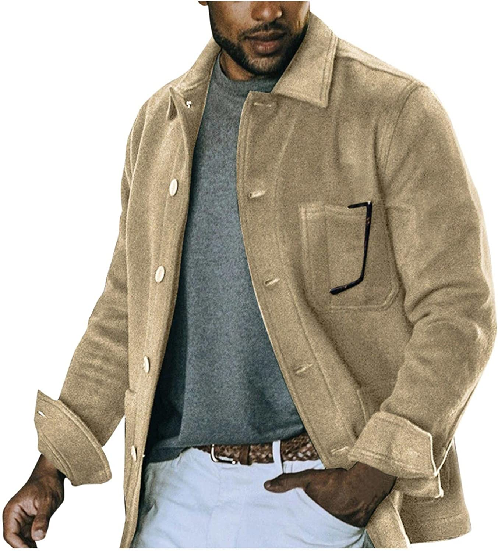 FUNEY Men's Sherpa Lined Suede Faux Leather Trucker Jacket Plus Size Thicken Warm Outwear Motorcycle Button Up Jackets