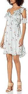 ASTR the label Women's Josie One Cold Shoulder Ruffle Floral Satin Short Wrap Dress