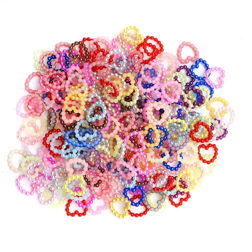 Monrocco 200 Pcs Assorted Color Love Heart Shape Flat Back Embellishments for Craft Wedding