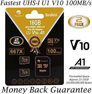 2-Pack 16GB Micro SD Card Plus Adapter. Amplim 16 GB MicroSD Memory Card 100MB/s 667X V10 A1 U1 - Class 10 UHS-I 16G MicroSDHC TF Card for Cell Phones, Fire, Dashcam Camera, GoPro, DJI, Nintendo
