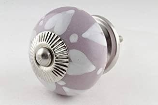 S. K. Art Handmade Ceramic Purple & White Heart Drawer Cabinet Dresser Door Pulls Handles Knobs - Pack of 1
