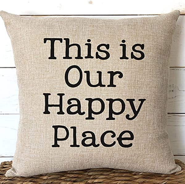 This Is Our Happy Place Pillows Cushion Covers 18x18 Cabin Lake Home Decor Retirement Gift Sofa Beach House Decor Two Side Color 2