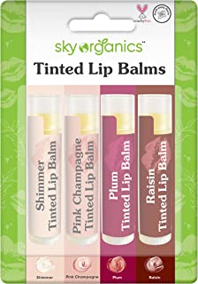Organic Tinted Lip Balm by Sky Organics – 4 Pack Assorted Colors –- With Beeswax, Coconut Oil, Cocoa Butter, Vitamin E- Mi...