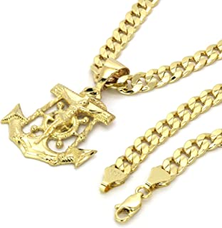 14k Gold Plated on Brass Hip Hop Anchor Pendant w/ 6mm 24
