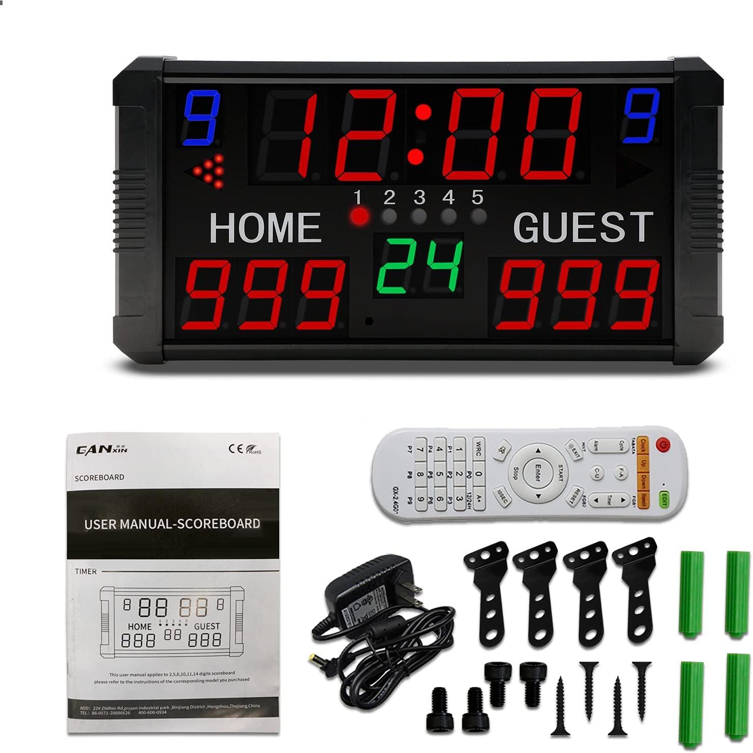 GAN XIN Marcador LED de 14 dígitos de visualización multi deportes electrónico marcador para baloncesto tenis de fútbol temporizador