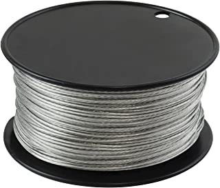 Houseables Wire, Vinyl Coated, 500 Feet, 1/16 Inch, Braided Stainless Steel Cable, Plastic Covered, Heavy Duty, Stranded Rope for String Lights, Artificial Flower, Wreath Making, Trellis, Clothesline