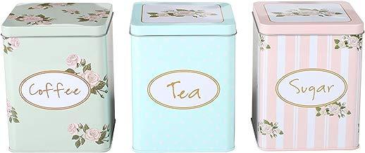 Botes de té, azúcar y café, CrazyGadget®, 3 unidades, cuadrados, diseño de flores, de metal, elegante y chic, para almacenamiento, de 15cm x 11,5cm x 11,5cm, en tonos suaves y pasteles, verde, azul y melocotón