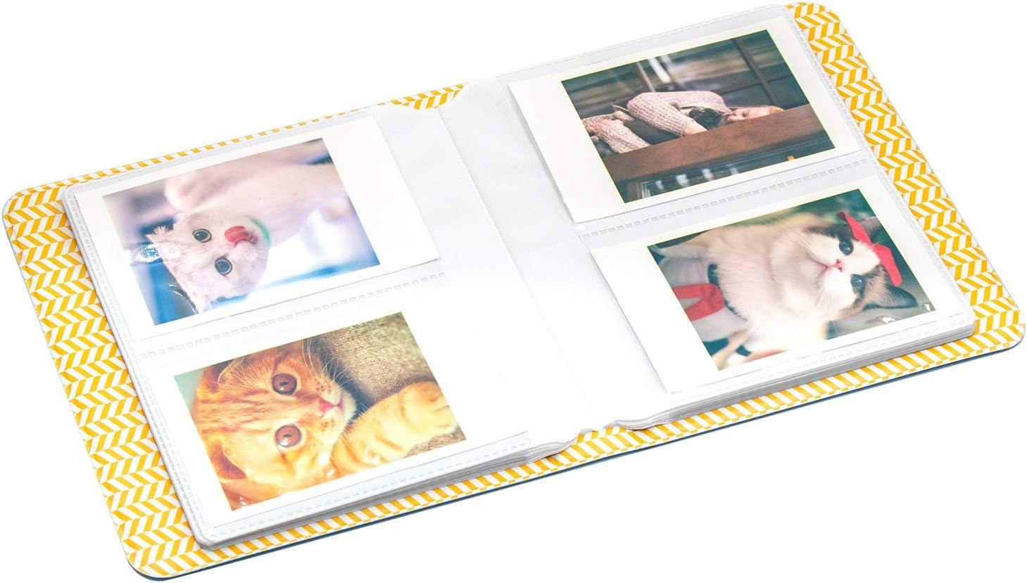 Amimy 64 Poches Album Photos pour Fujifilm Instax Mini 7s 8 8+ 9 25 50 70 90 Sprocket HP Polaroid PIC-Snap 300 Kodak Mini 3 Pouces Film avec des Autocollants Color/és 64 Poches, Bleu