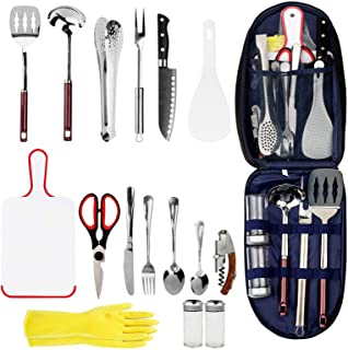Oaoleer Camping Cookware Camp Kitchen Utensil,16-Piece Stainless Steel Outdoor Cooking and Grilling Utensil Organizer Trav...