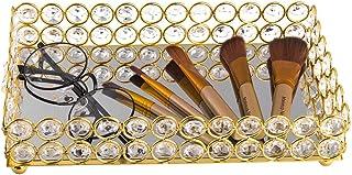 Feyarl Crystal Beads Cosmetic Tray Rectangle Jewelry Organizer Jewelry Holder Tray Mirrored Decorative Tray (Gold)