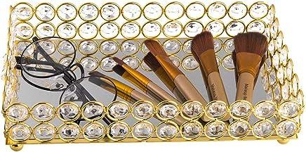 Feyarl Crystal Beads Cosmetic Tray Rectangle Jewelry Organizer Tray Mirrored Decorative Tray (Gold)