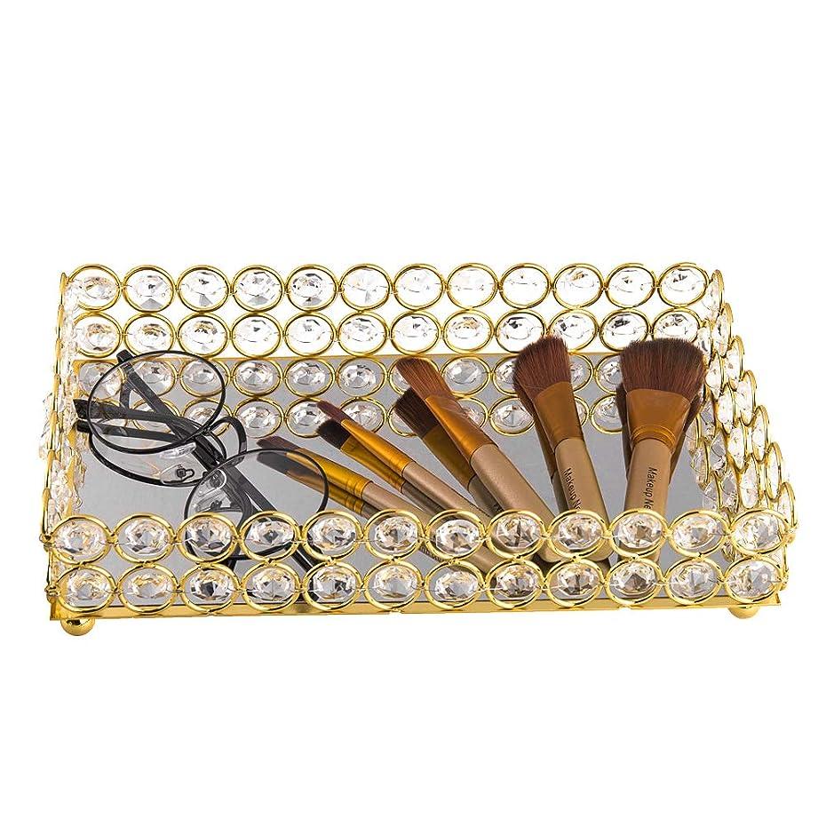 シンポジウム師匠飾り羽Feyarl 収納トレイ 小物 収納 長方形トレイ ミラートレー ブラシ入れ クリスタル ゴールド