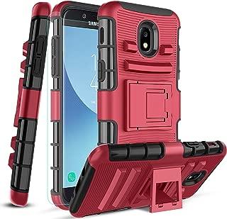 Innge Samsung Galaxy J3 2018 Case,J3 Achieve/J3 Orbit/Express Prime 3/J3V 3rd Gen/Sol 3/J3 Star/Amp Prime 3/J3 Top Case w/Screen Protector&Kickstand,Skockproof Dual Layer Heavy Duty phone cover,PC-Red