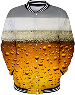 3D Print Hoodies Men's Casual Long Sleeve Beer Festival 3D Printing Mens Parka Sport Shirt