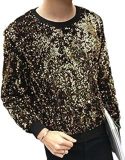 WSPLYSPJY Men's Casual Solid Sequin Round Neck Long Sleeve Tops Sweatshirt