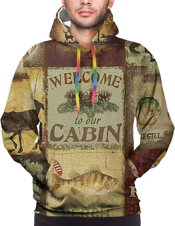Hoodie For Men Women Unisex Bear Nature Cabin Forests 3d Printed Hooded Sweatshirt