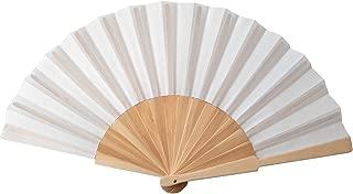 Libetui Handlicher Handfächer Stoff mit Holzgriff Fächer 1.0 heiße Sommertage Feste Party Hochzeit Hand Fan Hochzeitfächer Farbe Weiß