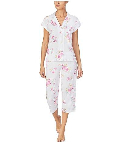 LAUREN Ralph Lauren Petite Classic Knits Short Sleeve Dolman Notch Collar Capri Pants Pajama (Pink Floral) Women
