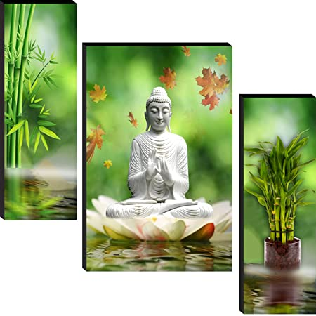 wallmax Set of 3 Religious Modern Art 6 MM MDF Framed UV Coated Multi Effect Wall Painting For Living Room 12 Inch x 18 Inch Paintings WAG-JM70073