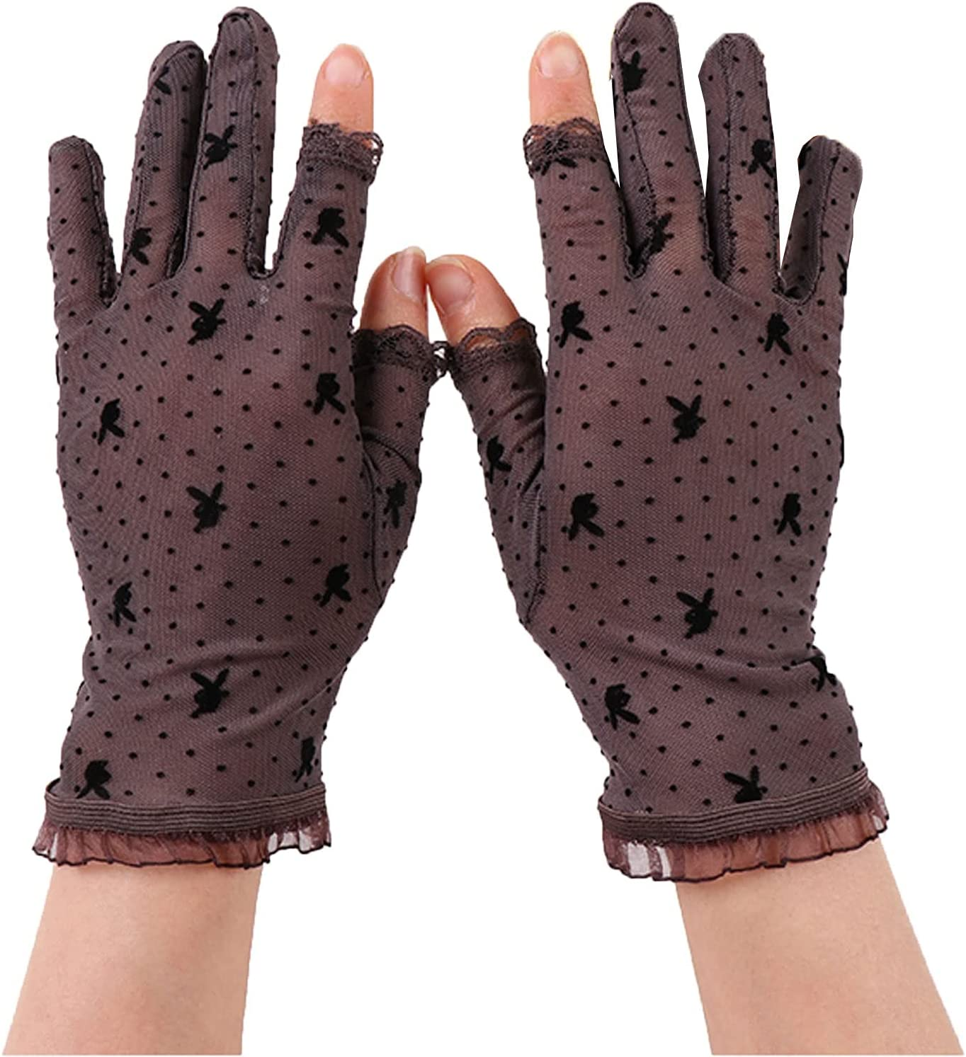 Thin Gloves Lace Gloves Female Sunscreen Fingerless Mesh Gloves Sexy and Elegant Warm Gloves (Color : Brown)