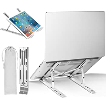 "Laptop Stand, iVoler Laptop Holder Riser Computer Tablet Stand, Adjustable Aluminum Ergonomic Foldable Portable Desktop Holder Compatible with MacBook,iPad, HP, Dell, Lenovo More 10-15.6"" Laptops"