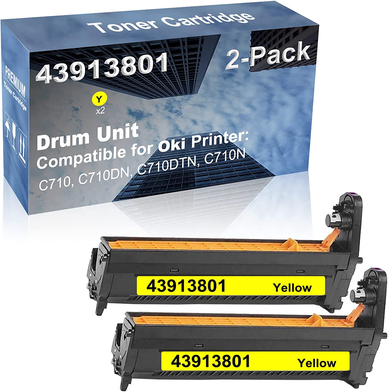2-Pack (Yellow) Compatible High Capacity 43913801 Drum Unit Used for Oki C710, C710DN, C710DTN, C710N Printer