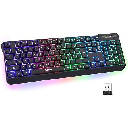 KLIM Chroma Rechargeable Wireless Gaming Keyboard + Slim, Durable, Ergonomic, Quiet, Waterproof, Silent Keys + Backlit Wireless Keyboard for PC PS4 Xbox One Mac + Teclado Gamer + New 2021 Version